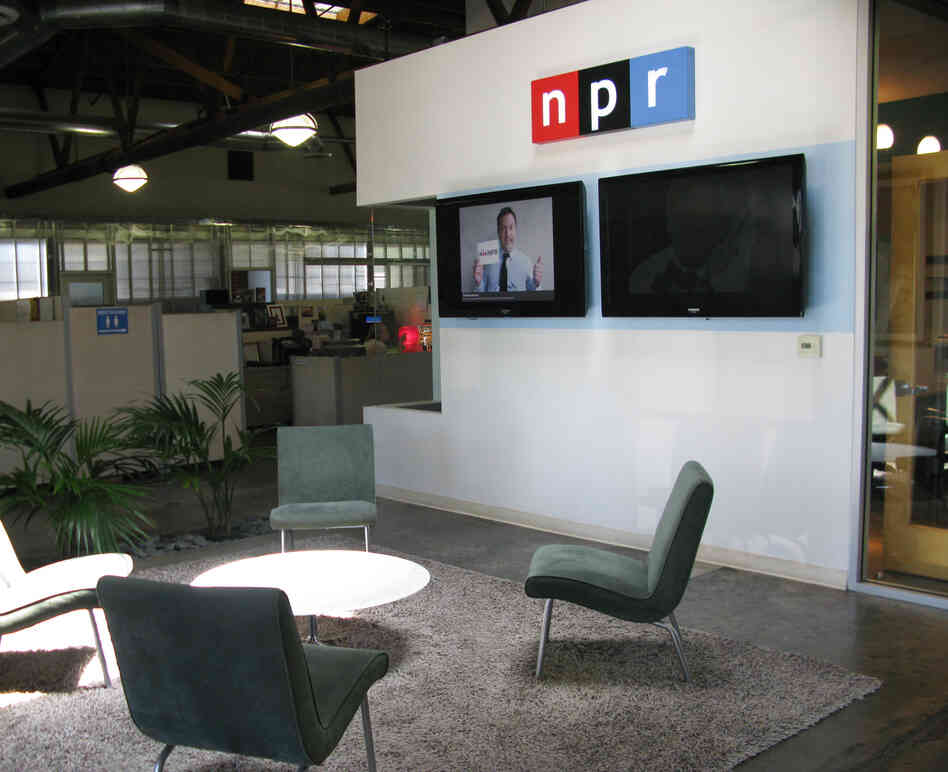 The lobby at NPR West, where photos from the I Heart NPR campaign are displayed for visiting guests (NPR HQ in Washington, D.C., now sports a similar reel).