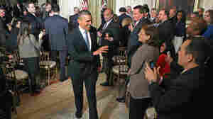 President Obama acknowledges reporters after his White House news conference on Wednesday.