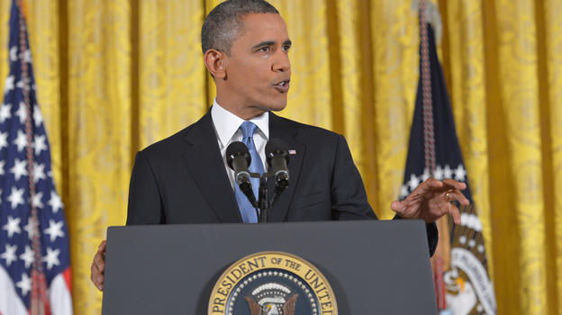 President Obama during his news conference at the White House today. (AFP/Getty Images)