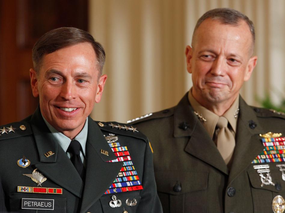Then-Army Gen. David Petraeus (left) and Marine Corps Gen. John Allen in August, 2011.