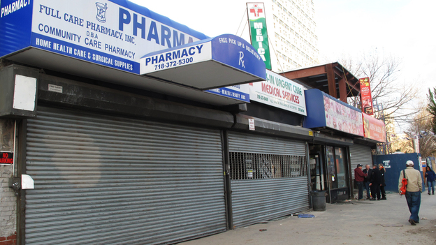 Pharmacy and medical services stores closed in Coney Island. (NPR)