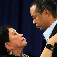 Tiger Woods talks to his mother Kultida Woods after acknowledging marital infidelities in 2010 in Ponte Vedra Beach, Fla.