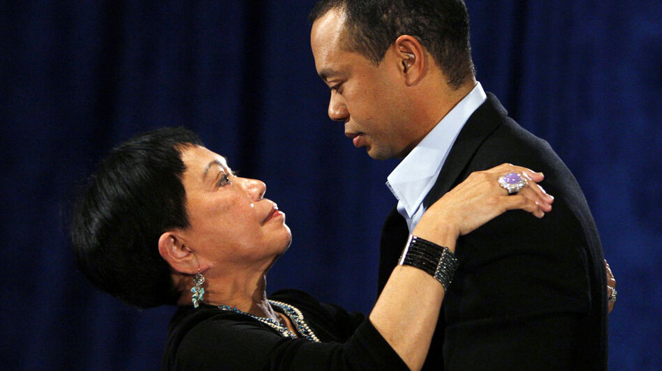 Tiger Woods talks to his mother Kultida Woods after acknowledging marital infidelities in 2010 in Ponte Vedra Beach, Fla. (AP)