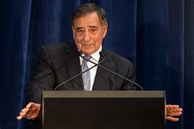 Secretary of Defense Leon Panetta speaks during a press conference following meetings as part of AU