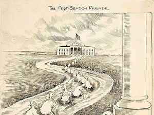 """This 1915 cartoon highlights the biennial departure of """"lame duck"""" members of Congress after losing re-election. This illustration is meant to depict defeated Democrats heading to the White House in hopes of securing political appointments from President Woodrow Wilson."""