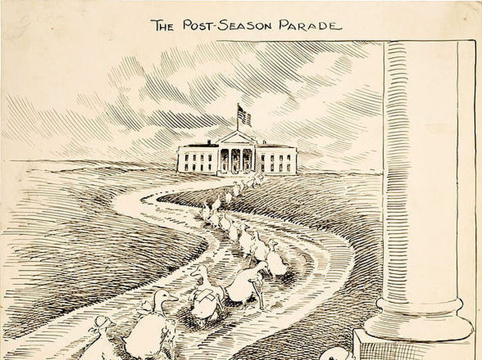 "This 1915 cartoon highlights the biennial departure of ""lame duck"" members of Congress after losing re-election. This illustration is meant to depict defeated Democrats heading to the White House in hopes of securing political appointments from President Woodrow Wilson. (Clifford K. Berryman. Via U.S. Senate Collection - Center for Legislative Archives; Wikimedia Commons)"
