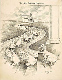 This 1915 cartoon highlights the biennial departure of