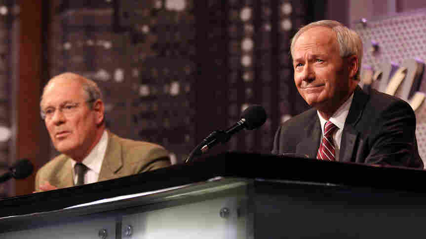 Theodore Dalrymple (left) and Asa Hutchinson argue against legalizing drugs in an Intelligence Squared U.S. debate.