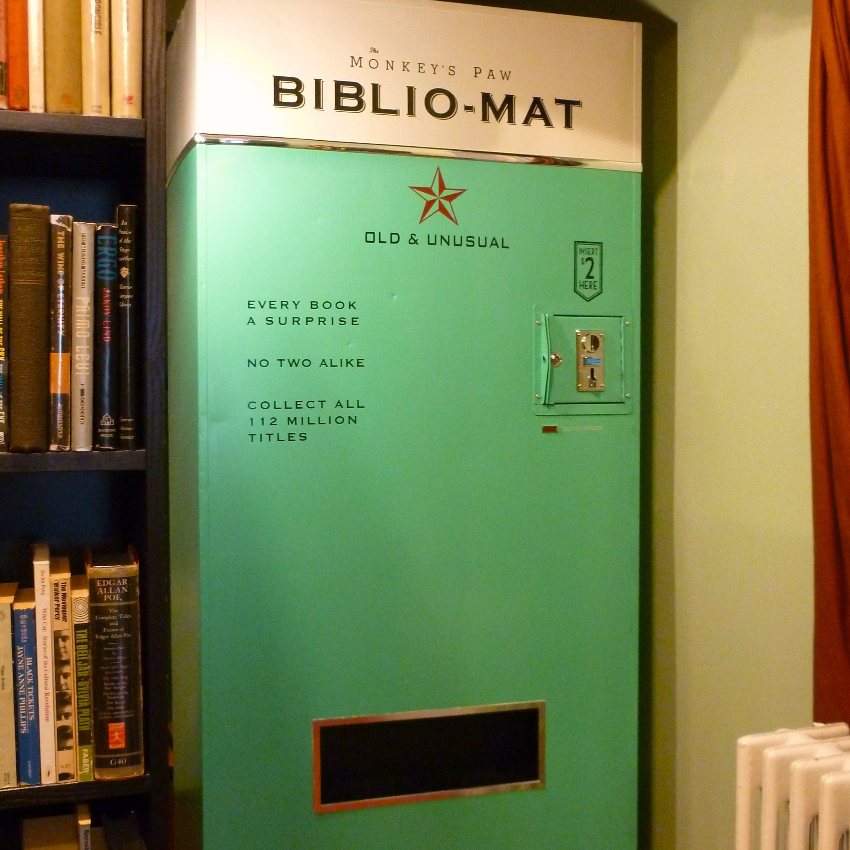 The Biblio-Mat in Stephen Fowler's Monkey's Paw bookstore dispenses random used books for $2 each.