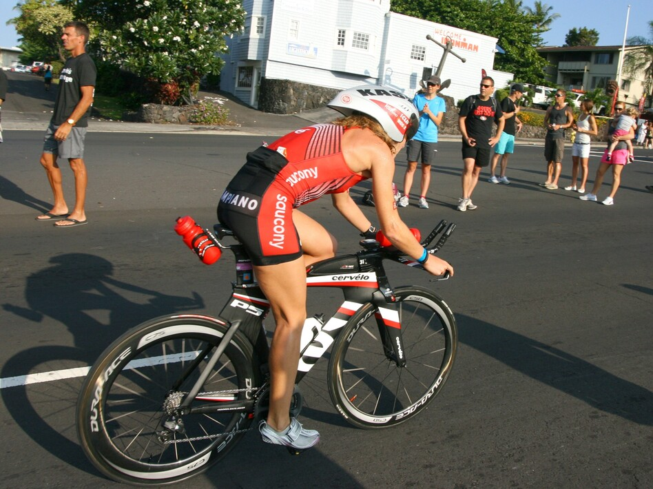 Last month, triathlete Sarah Piampiano competed in the Ironman World Championship in Kona, Hawaii. Piampiano and many other endurance athletes are relying on caffeinated gels in their races. (Murray Carpenter for NPR)