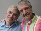Larry Rolf (left) and Denny Daniels are best friends who were both married to the same woman — though at different times. After she died, the two helped each other cope.