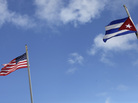 American and Cuban flags in the Little Havana neighborhood of Miami.