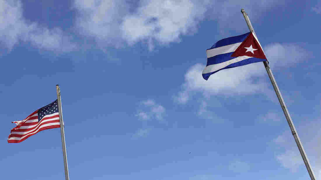 American and Cuban flags in the Little Havana neighborhood of Miami.