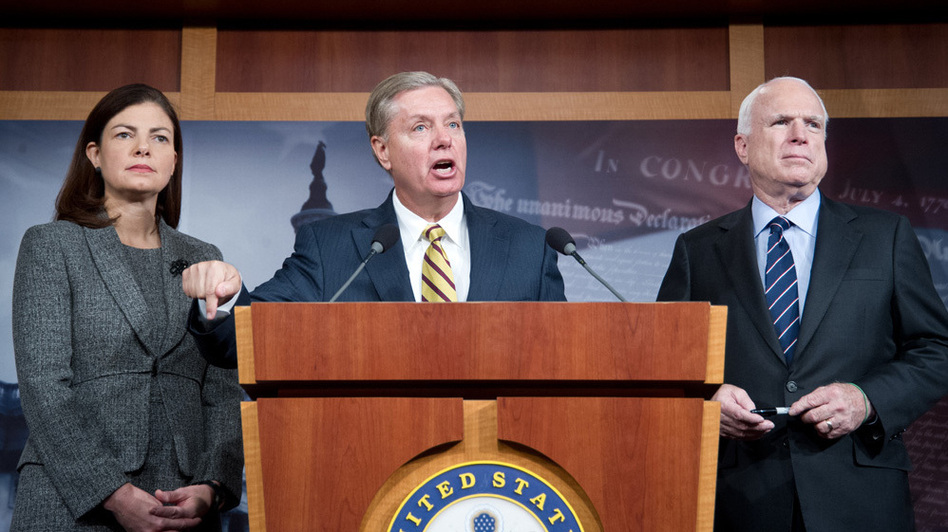 Sens. Kelly Ayotte, R-N.H., Lindsey Graham, R-S.C., and John McCain, R-Ariz., appear during a news conference Wednesday about the terrorist attack in Benghazi, Libya. Graham argued that Rice misled the public when addressing the attack, in which four Americans were killed. (AFP/Getty Images)