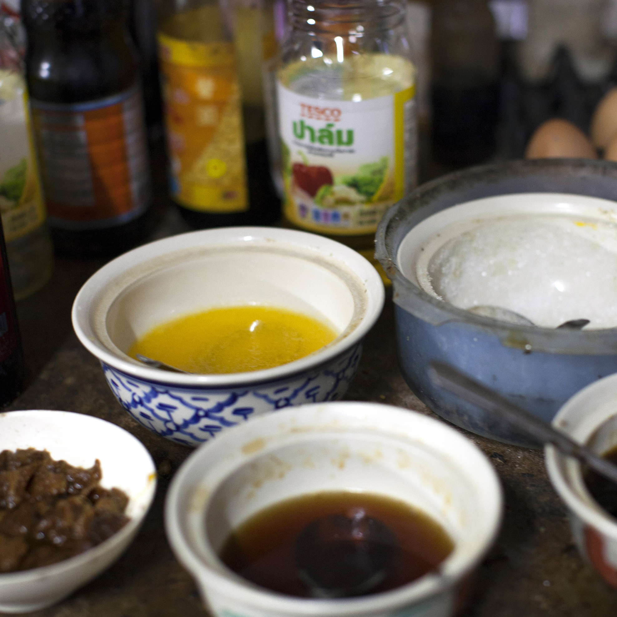 To prepare Aiya's Burmese and Thai dishes, the kitchen staff use a variety of spices and ingredients, including fish sauce, garlic, chili, bean powder, shallots, mushroom sauce, oyster sauce and soy bean sauce.