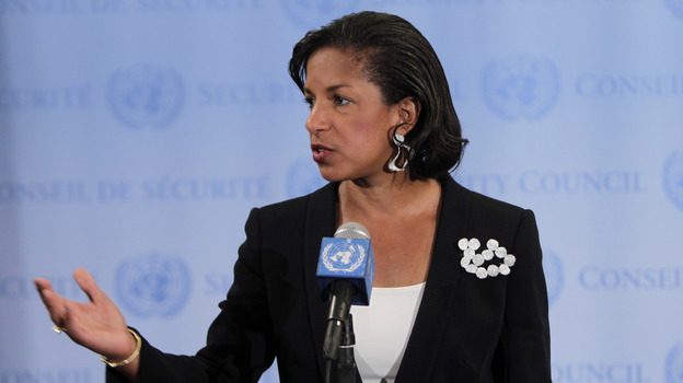 Susan Rice, the U.S. ambassador to the United Nations, speaks to the media at U.N. headquarters in April. (AP)