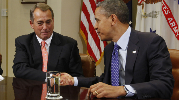Getting started: President Obama and House Speaker John Boehner, R-Ohio, at the start of today's meeting. (Reuters /Landov)