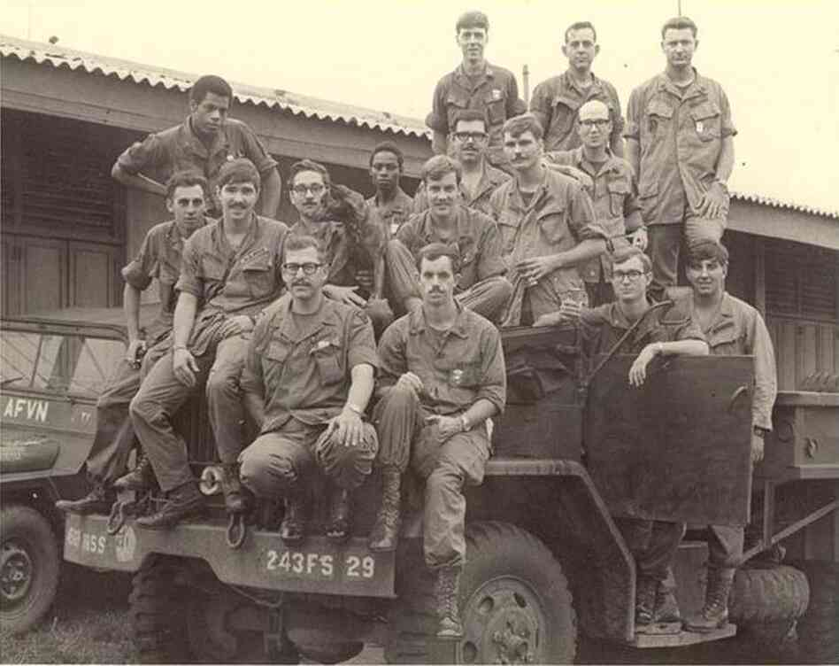 """NPR Distribution's Senior Solutions Architect Bruce Wahl, pictured with men he commanded in 1970: """"This was a joint service unit, so the men in the picture above are from the ARMY, Air Force, Navy and Marines...the skinny guy in the top center of the frame is what I used to look like."""""""