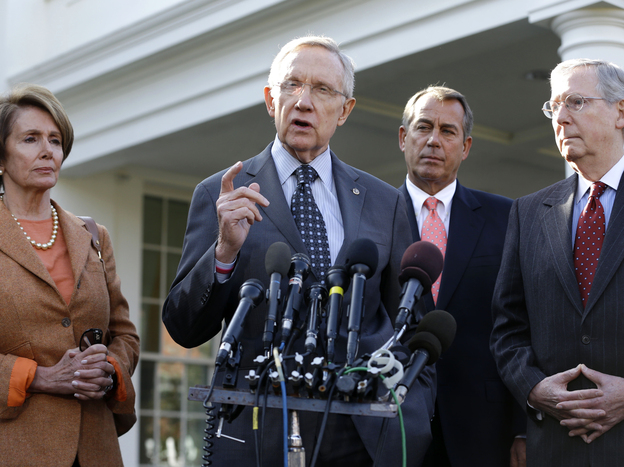 Congressional leaders after their meeting with President Obama Friday. From left: House Minority Leader Nancy Pelosi (D), Senate Majority Leader Harry Reid (D), House Speaker John Boehner (R) and Senate Minority Leader Mitch McConnell (R). (AP)