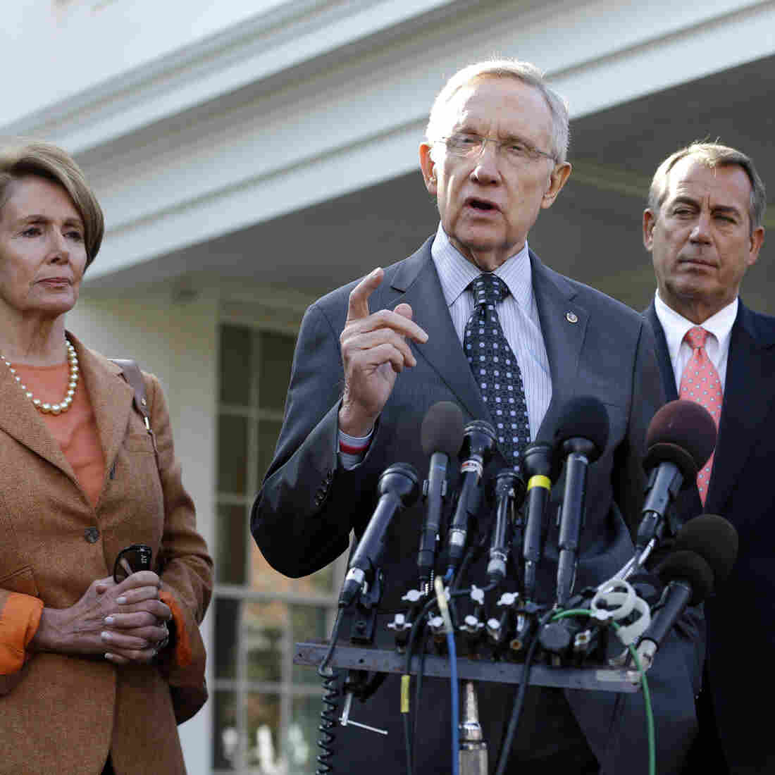 Congressional leaders after their meeting with President Obama Friday. From left: House Minority Leader Nancy Pelosi (D), Senate Majority Leader Harry Reid (D), House Speaker John Boehner (R) and Senate Minority Leader Mitch McConnell (R).