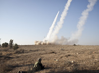Israel's anti-rocket system, known as Iron Dome, is shown in action on Thursday, Nov. 15, near Beer Sheva, in southern Israel. The system is designed to shoot down incoming rockets launched by Palestinians in the nearby Gaza Strip.