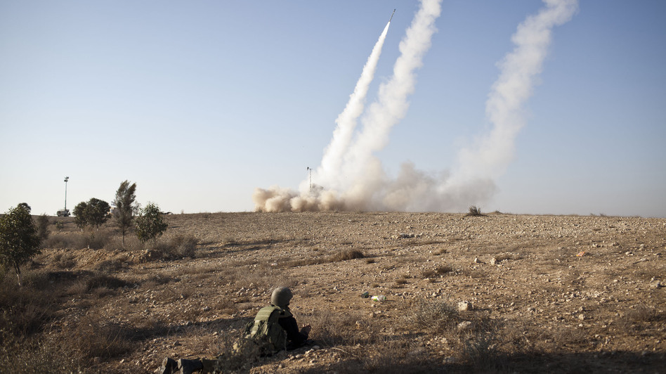 Israel's anti-rocket system, known as Iron Dome, is shown in action on Thursday, Nov. 15, near Beer Sheva, in southern Israel. The system is designed to shoot down incoming rockets launched by Palestinians in the nearby Gaza Strip. (Getty Images)