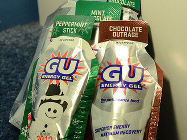 GU energy gels, pictured above, come in caffeinated and noncaffeinated flavors. Of the gels pictured above, Chocolate Outrage, Mint Chocolate, Island Nectar and Just Plain all contain caffeine, while Peppermint Stick doesn't.