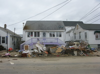 A damaged home in Seaside Heights, N.J.