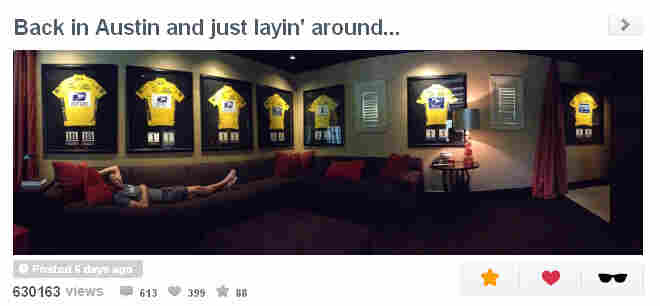Armstrong, who was stripped of his Tour de France titles last month, tweeted this photo a few days ago.