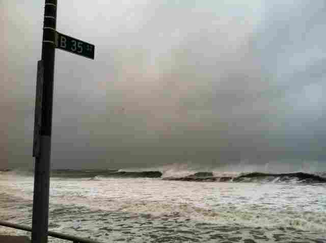 NPR's Robert Smith took this shot of the storm hitting the Rockaways in Queens.