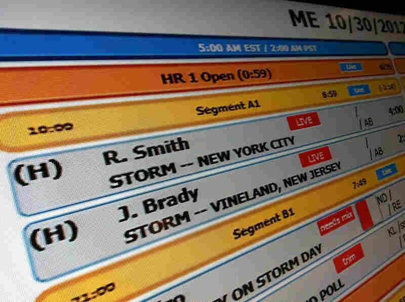 A view of the Morning Edition 'Rundown Board' for Tuesday, October 30, the day after the brunt of the storm hit.