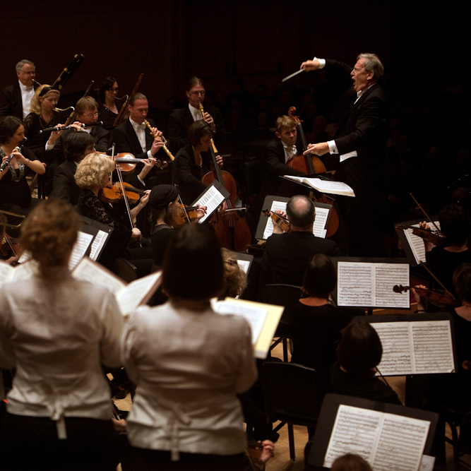 John Eliot Gardiner leads the Orchestre Revolutionnaire et Romantique and the Monteverdi Choir at Carnegie Hall in New York, NY on November 17, 2012.