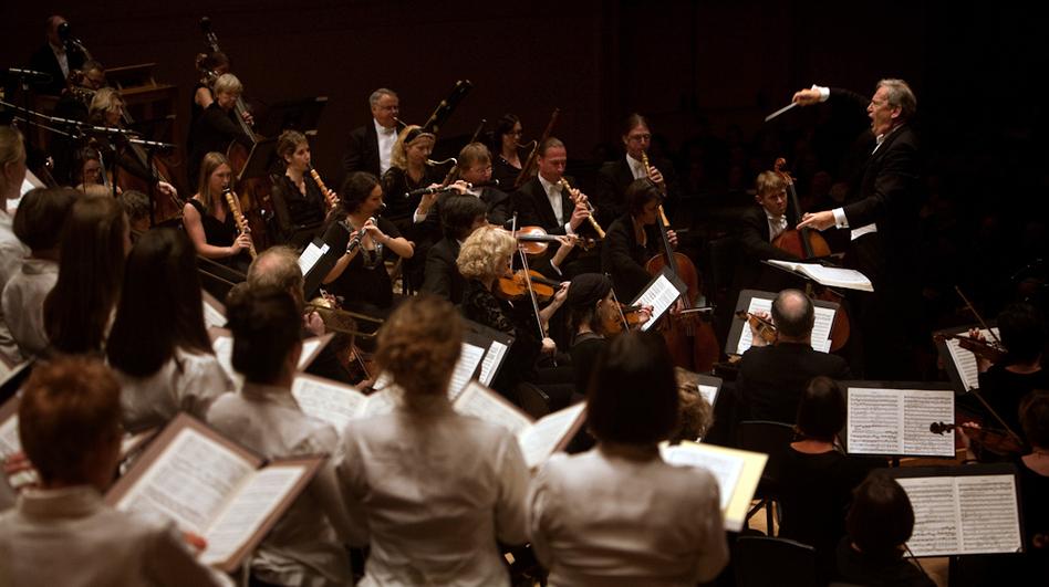 John Eliot Gardiner leads the Orchestre Revolutionnaire et Romantique and the Monteverdi Choir at Carnegie Hall in New York, NY on November 17, 2012. (Melanie Burford for NPR)