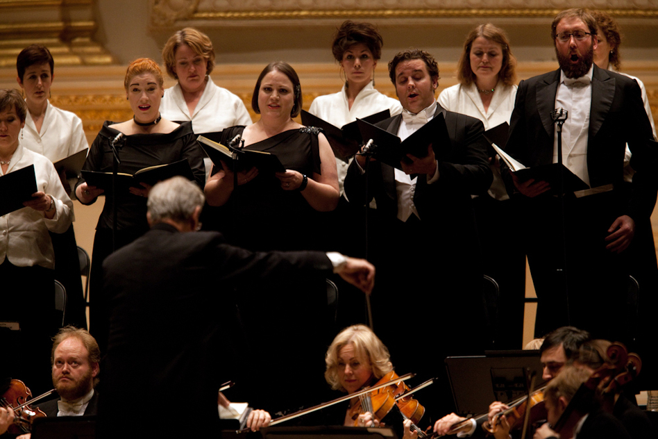 The evening's soloists were soprano Elisabeth Meister, mezzo-soprano Jennifer Johnston, Michael Spyres and bass Matthew Rose. (Melanie Burford for NPR)