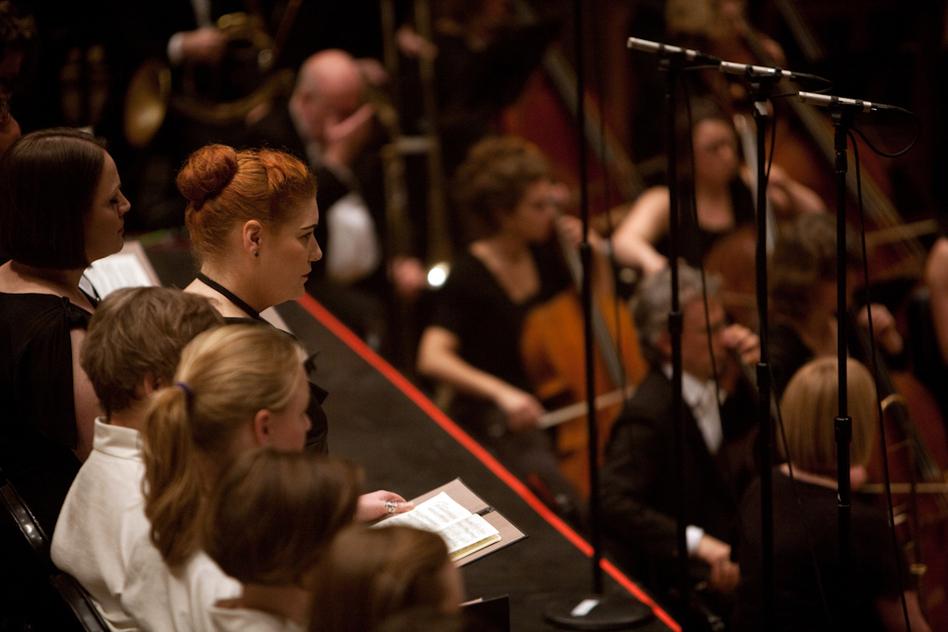 Soprano Elisabeth Meister, watching and listening intently.  (Melanie Burford for NPR)