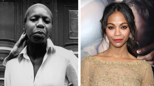 Nina Simone (left) and actress Zoe Saldana are seen in this composite image. Saldana has been cast to play the late singer in a film biopic. (Getty Images)