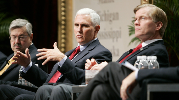 Iowa Gov. Terry Branstad (left), Indiana Gov.-Elect Mike Pence (center) and Virginia Gov. Bob McDonnell, chairman of the Republican Governors Association, participate in a panel discussion during the 2012 RGA Annual Conference on Thursday in Las Vegas. (AP)