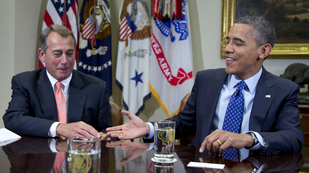President Obama reaches to shake hands with House Speaker John Boehner, during a meeting Friday at the White House to discuss the deficit and economy. (AP)