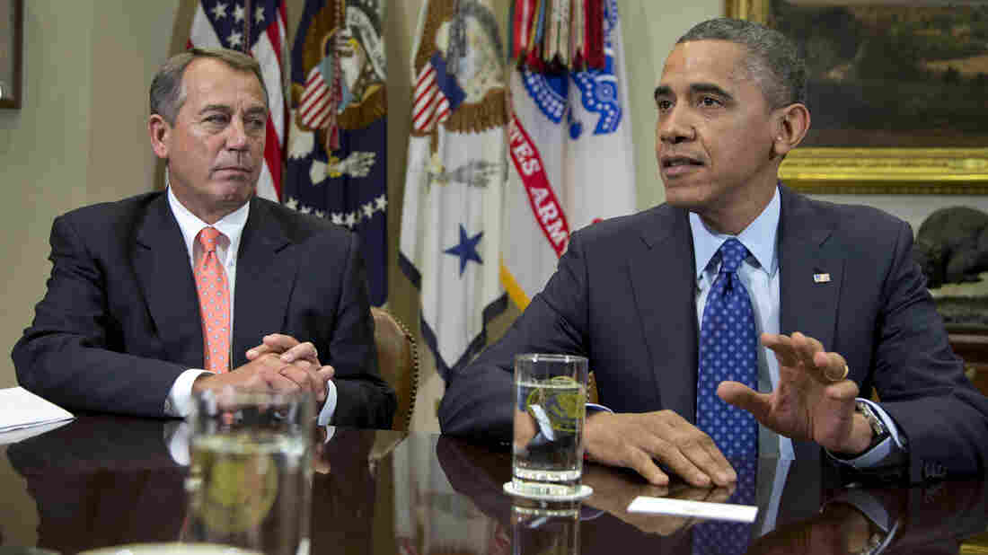 President Obama, accompanied by House Speaker John Boehner of Ohio, speaks to reporters at the White House on Friday during a meeting to discuss the fiscal cliff.