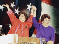 Democratic Senate candidates Barbara Boxer (left) and Dianne Feinstein raise their arms in victory at an election rally in San Francisco on Nov. 4, 1992, the so-called