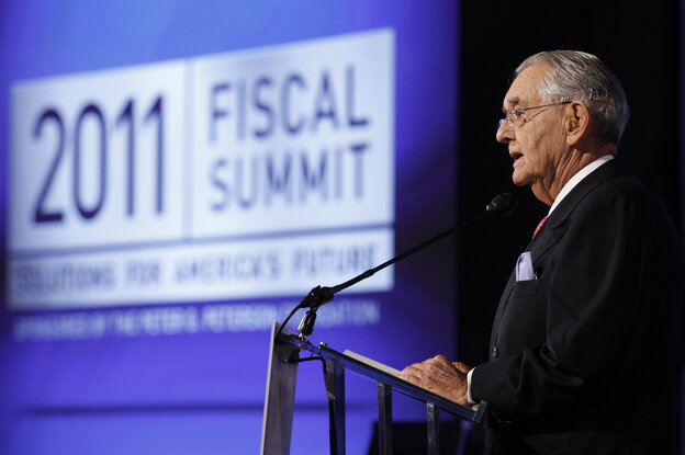 Peter G. Peterson speaks at the Fiscal Summit in Washington, D.C.,