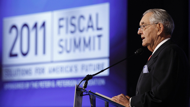 Peter G. Peterson speaks at the Fiscal Summit in Washington, D.C., last year. The event was sponsored by the Peter G. Peterson Foundation. (Reuters/Landov)