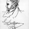 An autographed portrait of Ludwig van Beethoven.