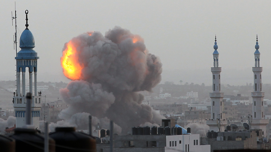 An Israeli airstrike in Gaza City on Nov. 17. More than 80 Palestinians and three Israelis have been killed in the fighting. (AFP/Getty Images)