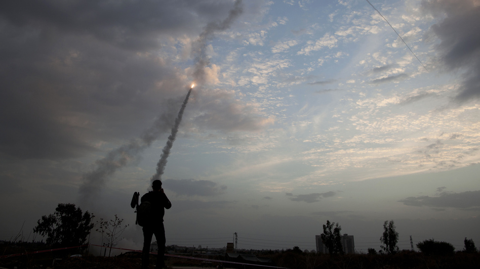 Israel says its Iron Dome missile interceptor system has been effective in combating Palestinian rockets. This Iron Dome launch in Tel Aviv was directed an an incoming rocket on Nov. 17. (AP)