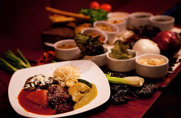 Three of the six moles served at Casa Oaxaca of Washington, D.C. Some of these mole recipes were passed down to chef Alfio Blangiardo by hi