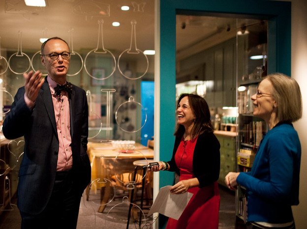 Chris Kimball and Renee Montagne share a laugh with Paula Johnson, curator of a new exhibit at the Smithsonian's American History Museum featuring Julia Child's kitchen.