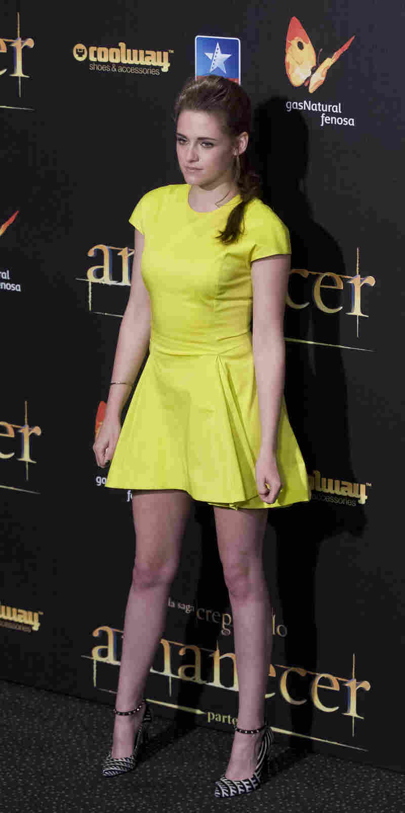 Kristen Stewart poses during a photo call at the Spanish premiere of The Twilight Saga: Breaking Dawn Part 2.