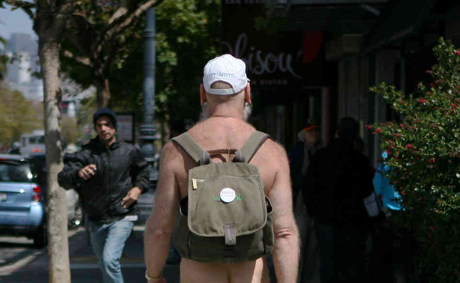 "Woody Miller, a ""naturist,"" was among the men out on Market Street in San Francisco this day."