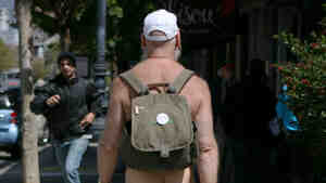 """Woody Miller, a """"naturist,"""" was among the men out on Market Street in San Francisco this day."""